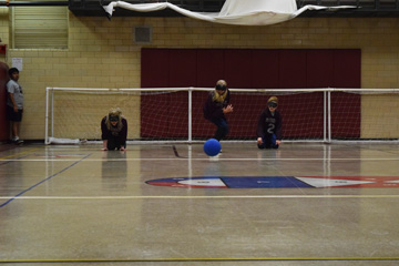 Goalball in play for MSB girls team