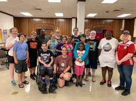 Camp Abilities- St. Louis campers and staff pose for a group picture in the MSB student center