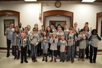 Braille Challenge contestants gather at MSB for a group photo