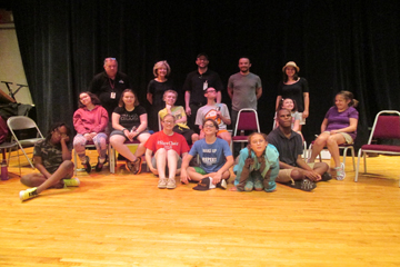 Broadway students with Saint Louis University High School drama staff