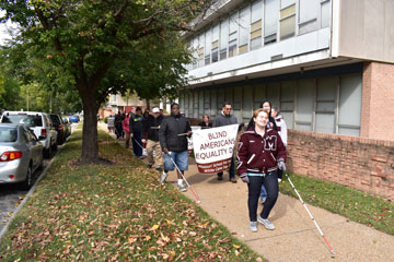 the MSB Mules march in White CaneDay advocacy walk
